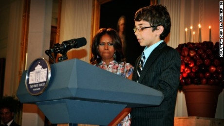 Braeden Mannering speaks during his visit to Washington.