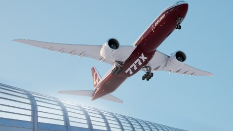 777X artist rendering of take off; landing with fence; wheels down; underneath from right side