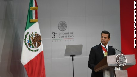 Mexican President Enrique Pena Nieto gives his third annual report at the Palacio Nacional in Mexico City on September 2, 2015.  AFP PHOTO/ALFREDO ESTRELLA        (Photo credit should read ALFREDO ESTRELLA/AFP/Getty Images)