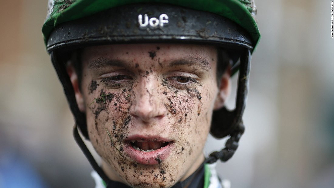 BRIGHTON, ENGLAND - AUGUST 24: A muddy George Tregoning at Brighton racecourse on June 24, 2015 in Brighton, England. (Photo by Alan Crowhurst/Getty Images)