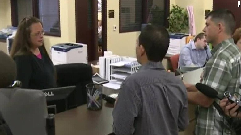 Heated confrontation with clerk denying marriage licenses