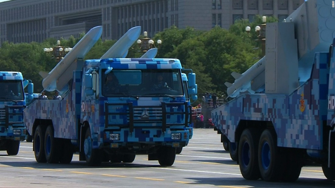 Missiles are displayed along the parade route on September 3.