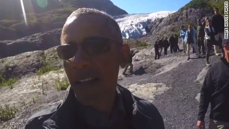 Obama selfie glacier Alaska climate change_00000000