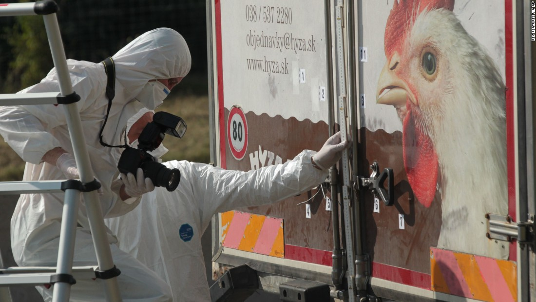 "Investigators in Burgenland, Austria, inspect an abandoned truck that contained the bodies of refugees who died of suffocation in August 2015. The 71 victims -- most likely <a href=""http://www.cnn.com/2015/08/28/europe/migrant-crisis/index.html"" target=""_blank"">fleeing war-ravaged Syria</a> -- were 60 men, eight women and three children."