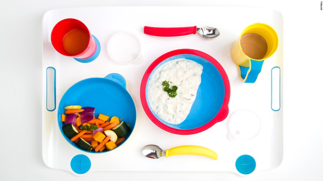 The Eatwell tableware set, designed for patients with cognitive impairments, such as Alzheimer's disease.