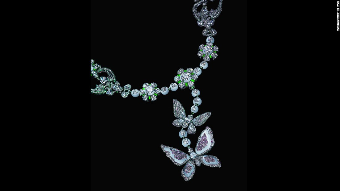 """The green jadeite and pink diamonds are used to bring the piece to life. It took a long time to hand pick the right color and quality of jadeite,"" Chan recalls."