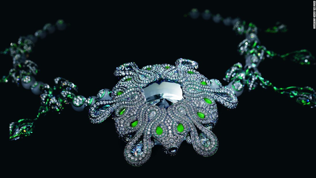 """I set a diamond inside each bead so the humility and the smoothness of jade - a symbol of the East, embraces the power and sparkles of the diamond - a long celebrated love of the West,"" Chan says."