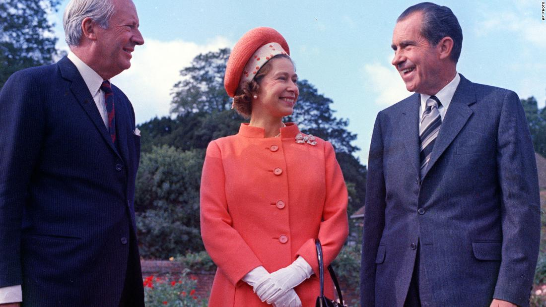 "Richard Nixon<br />Years in office: 1969 - 1974<br />Former President Richard Nixon met Queen Elizabeth in Buckingham Palace during an informal visit to the UK shortly after becoming the 37th US President in 1969. The Queen prepared signed photographs of herself and Prince Philip as a small memento of the meeting. Nixon also brought a signed headshot, but said: ""I didn't bring my wife along this time, 'cause this trip was so hurried. But we just had a picture taken of the two of us, I would like to send you one of that because it would be much more pleasant to look at the two of us."" Laughing, the Queen responded: ""That's very nice of you.""<br />"