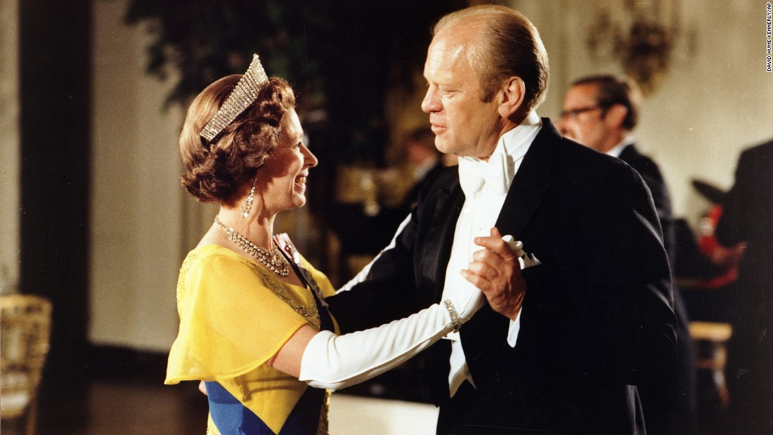 Gerald Ford<br />Years in office: 1974 - 1977<br />This White House file photograph, provided courtesy of the Gerald R. Ford Library, shows former President Gerald Ford, right, and Queen Elizabeth dancing during the state dinner in honor of the Queen and Prince Philip at the White House, on July 17, 1976 in Washington.<br />