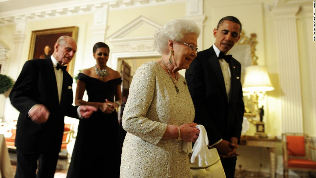 "Barack Obama<br />Years in office: 2009 - present<br />""There's one last thing that I should mention that I love about Great Britain, and that is the Queen,"" U.S. President Barack Obama said at the end of his joint press conference with then-British Prime Minister Gordon Brown during his visit to the UK in 2009. ""And so I'm very much looking forward to meeting her for the first time later this evening. And as you might imagine, Michelle has been really thinking that through because I think in the imagination of people throughout America, I think what the Queen stands for and her decency and her civility, what she represents, that's very important."" Later, during a reception for G-20 leaders, Michelle Obama was seen to take the unusual step of putting her hand briefly on the back of the Queen. This was against protocol but the monarch seemed to have reached out her hand first and didn't appear bothered by the First Lady's gesture."