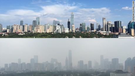This photo shows two images of the view from CNN's Beijing Bureau, one of a blue sky day from a week before the military parade and one of a hazy sky the day after the parade.