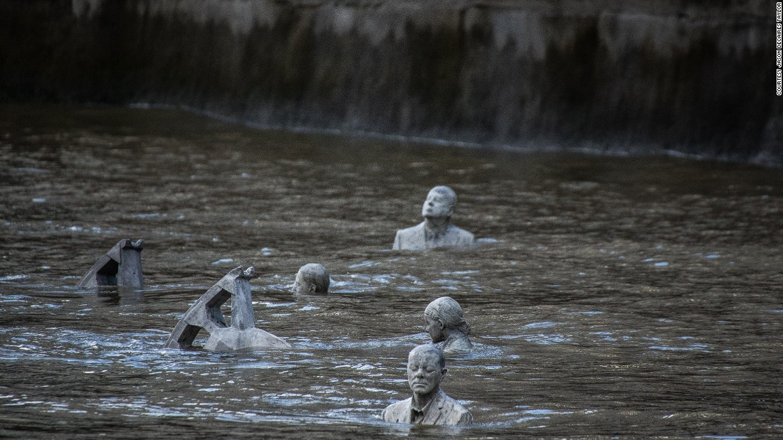"""I think it is a very powerful image having a suited businessman-slash-politician waist-high in rising water, in denial, ambivalent to the current situation,"" Taylor says. ""The riders symbolize our desire to control natural forces, but [being] positioned in a vast body of moving water aims to highlight our fragility.""<br /><br />Taylor leaped at the opportunity to create an installation in London, where he received his art education. But the location resonated for deeper reasons."