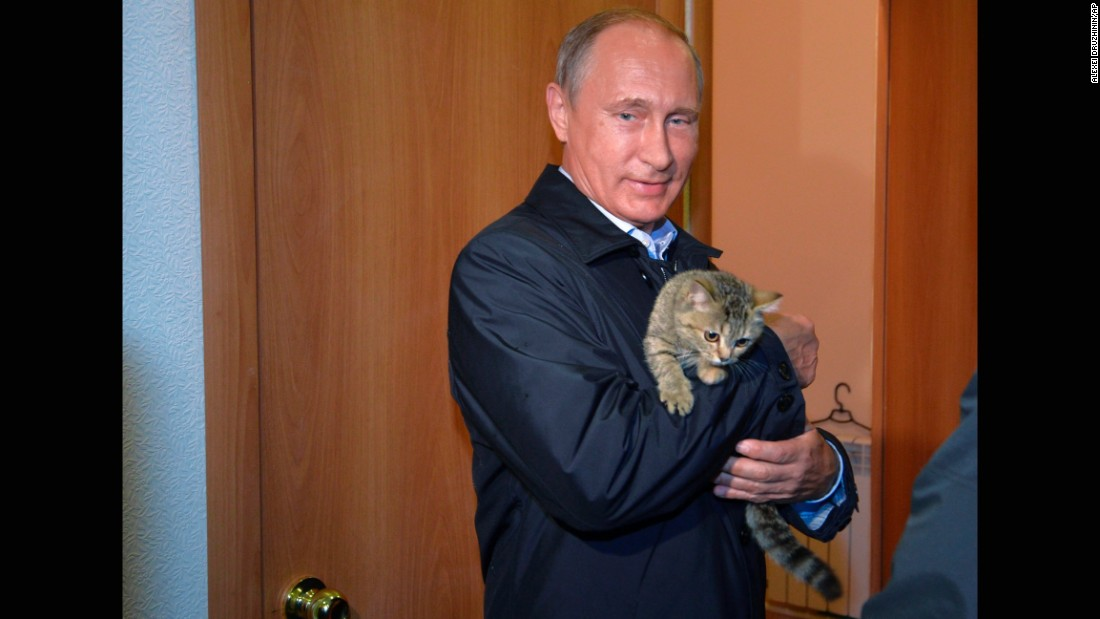 Putin holds a cat as he inspects housing built for victims of wildfires in the village of Krasnopolye, in a region in southeastern Siberia, Russia, on Friday, September 4.
