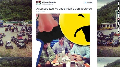 An image posted to Alfredo Guzman's Twitter account appears to show Guman with his father, Jaquin Guman, known as El Chapo.