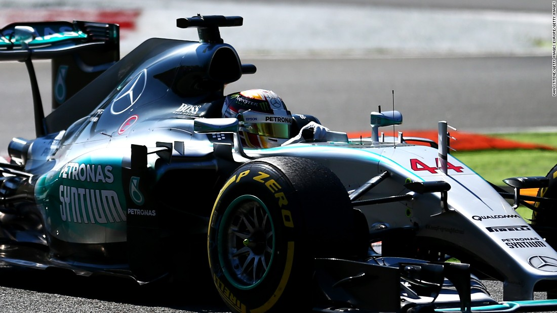 Hamilton leads the Italian Grand Prix at Monza on his way to eventual victory to open up a 53-point lead in the title race over Nico Rosberg.