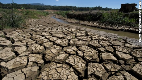 View of  dry river bed in Brazil during a historical drought. Pope Francis' comments on global warming has irked some conservatives