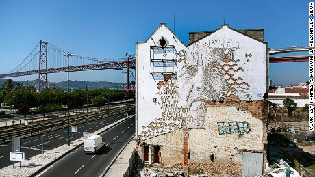 Vhils carved this mural into the side of a building in Lisbon in 2014.