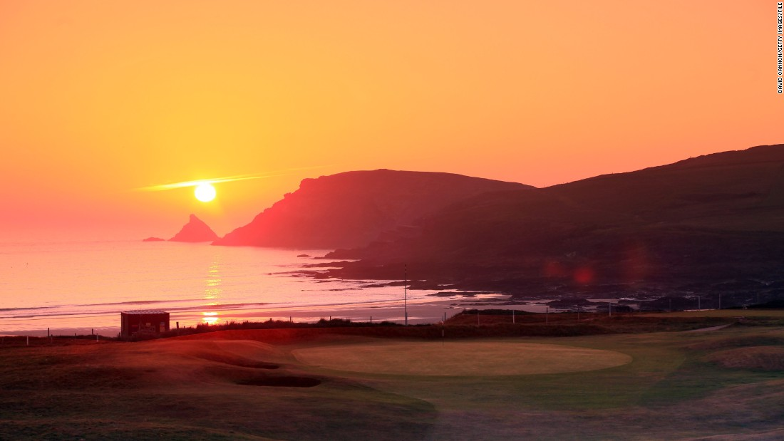 The opposite end of the United Kingdom and the picture perfect shot of the sun setting at Trevose Golf and Country Club in the idyllic English county of Cornwall.