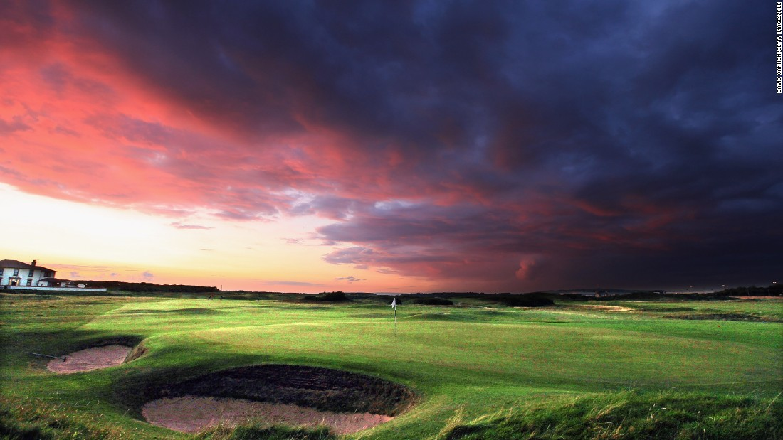It's a sunset, but it looks like it might be about to turn into a wet one. Another shot from Scotland, this one is from the west coast, at the pristine Prestwick Golf Club in Ayrshire.