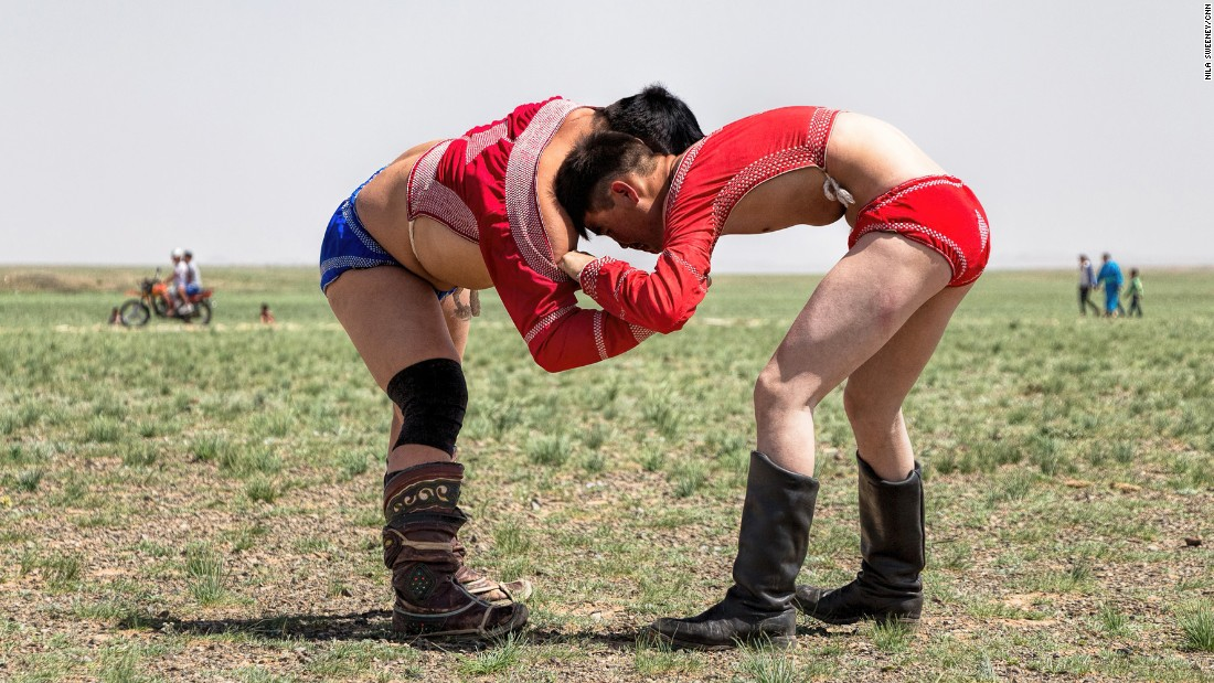 "Wrestling is one of the three manly sports celebrated during Mongolia's annual Naadam Festival -- attracting 3,000 competitors. <br />The other two are archery and horse racing. There are no weight categories. Wrestling bouts are mostly judged and won on strategy, so it's common to see a lighter contender trying his luck against a brawny rival.<br />Once the match is over, the winner performs an eagle dance in honor of the judges and the defeated. <br />The overall winner is given the title ""lion.""<br />"