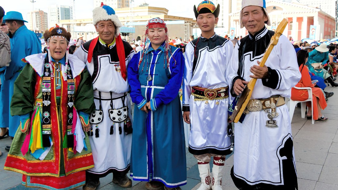Commonly worn by both men and women, especially by herders, the traditional Mongolian costume called deel is as ancient as the country itself.<br />The deel, similar to a robe with no pockets is worn with a thin silk sash tightly wound around the waist. <br />The belt is used to carry items like chopsticks, snuff bottles and pipe pouches. Toothpicks, ear scratchers and tweezers can also be carried.<br />Different styles of deel reflect the age of the wearer. <br />Older people typically wear something modest and plain while married woman are distinguished by more elaborate dresses.<br />