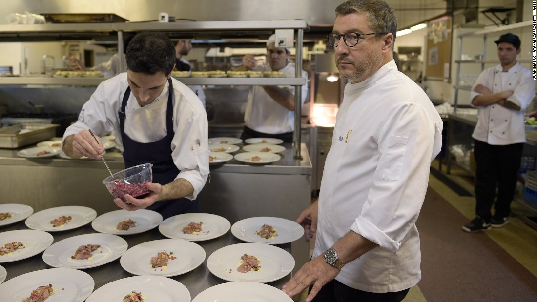 """The restaurant goes on tour ... just like a rock band!"" says chef Joan Roca, here supervising in Buenos Aires restaurant Terrazas Bistro as part of El Celler de Can Roca's 2015 summer cooking tour."