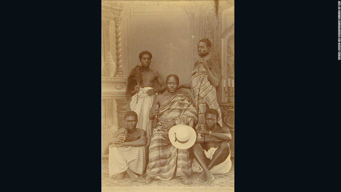 Highly choreographed, the importance of the central figure is emphatically symbolized in this glass negative from the Lutterodt studio circa 1880-1885.<br /><br />Five Men, ca. 1880-5<br />George A. G. and Albert George Lutterodt (Ghanaian, active from 1876)<br />Albumen silver print from glass negative