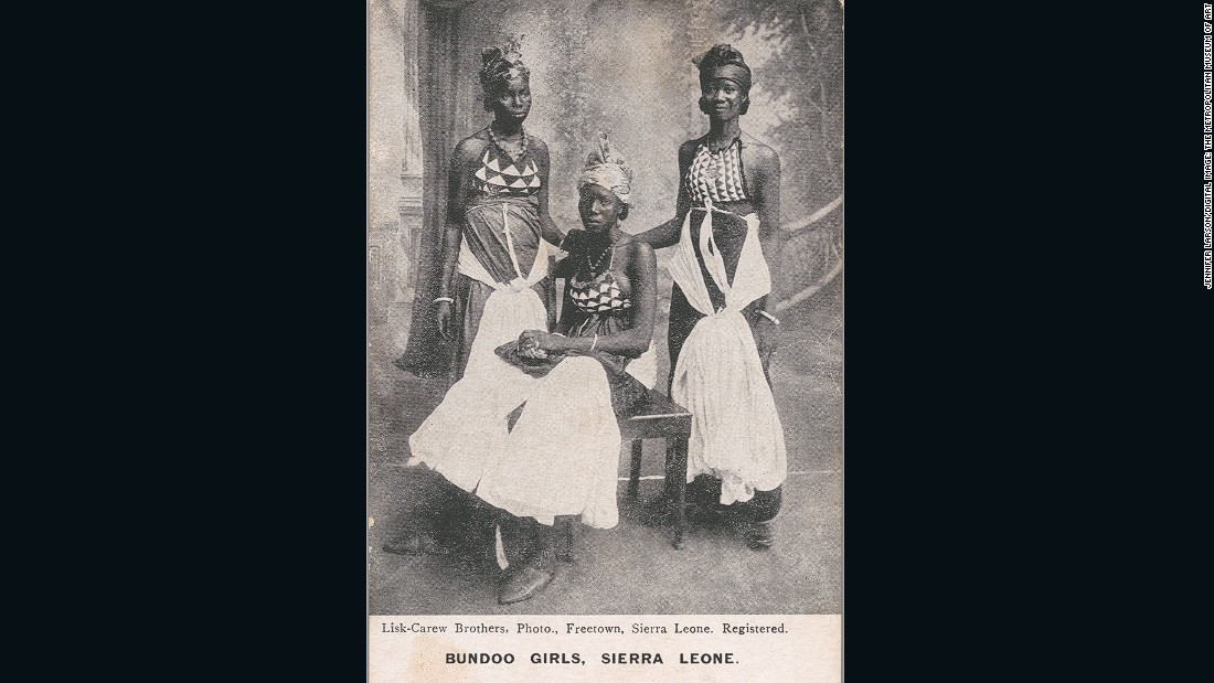 In cases such as this postcard, the exact name of the photographer was often lost in the long process between sitting and production. However, the curator speculates Alphonso Lisk-Carew could be behind this work from Sierra Leone.<br /><br />Bundoo Girls -- Sierra Leone, ca. 1905-1925<br />Unknown Artist [possibly Alphonso Lisk-Carew, Sierra Leonean, 1887-1969]<br />Photomechanical reproduction published by Lisk-Carew Brothers