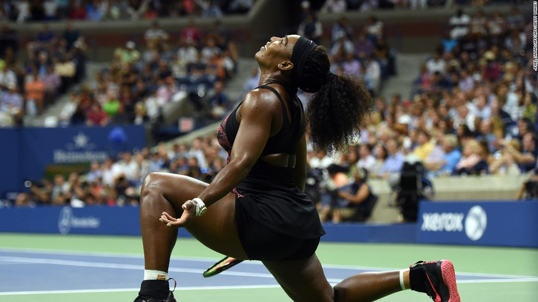 Serena Williams of the U.S. reacts as she takes on her sister Venus during their 2015 U.S. Open women's singles quarterfinals match. Serena won in three sets to move on to the semifinals.