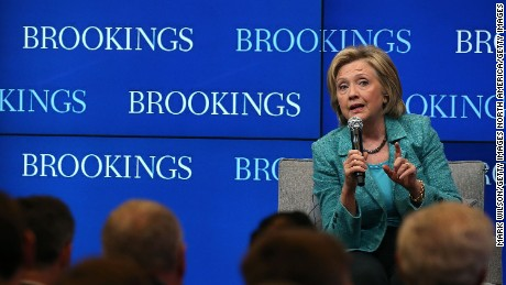 Former Secretary of State and Democratic presidential candidate Hillary Clinton answers a question after speaking about Iran at the Brookings Institute September 9, 2015 in Washington, DC.