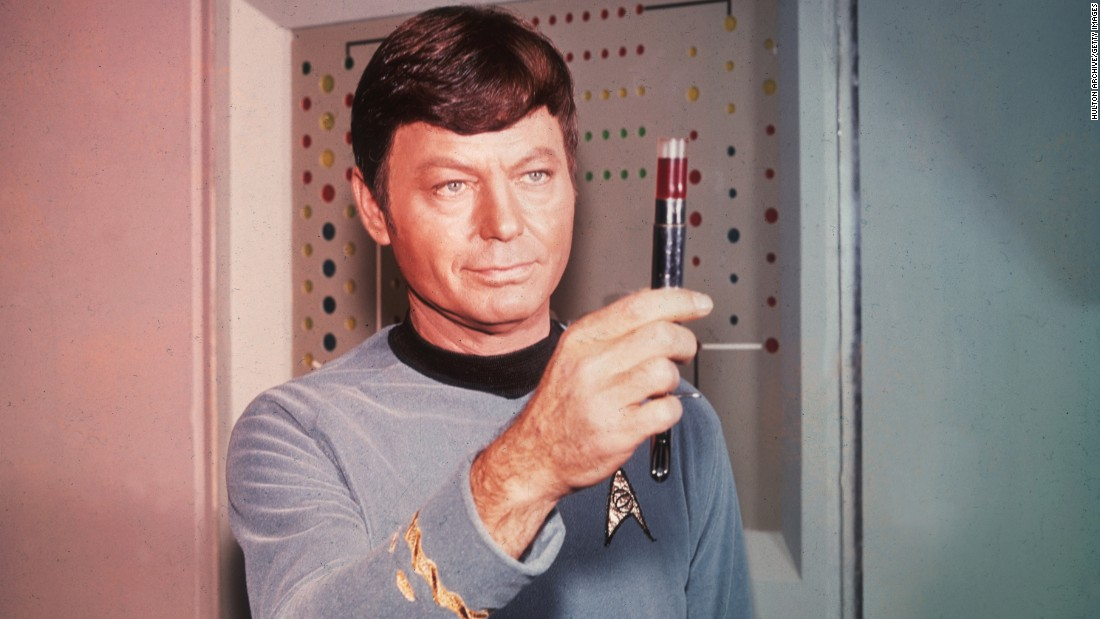 "As the often-exasperated Dr. ""Bones"" McCoy, DeForest Kelley was a fan favorite. He died in 1999."