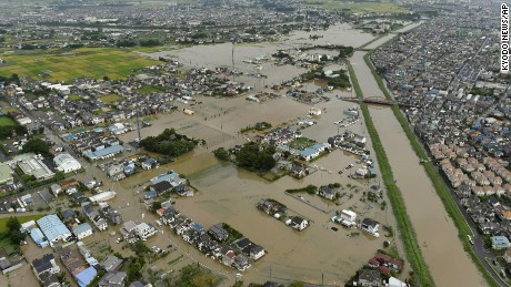 The flooded town of Koshigaya, Saitama prefecture, near Tokyo Thursday, Sept. 10, 2015, after heavy rains pummeled the region.