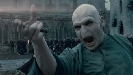 Voldemort, as portrayed by Ralph Fiennes in the Harry Potter movie series.