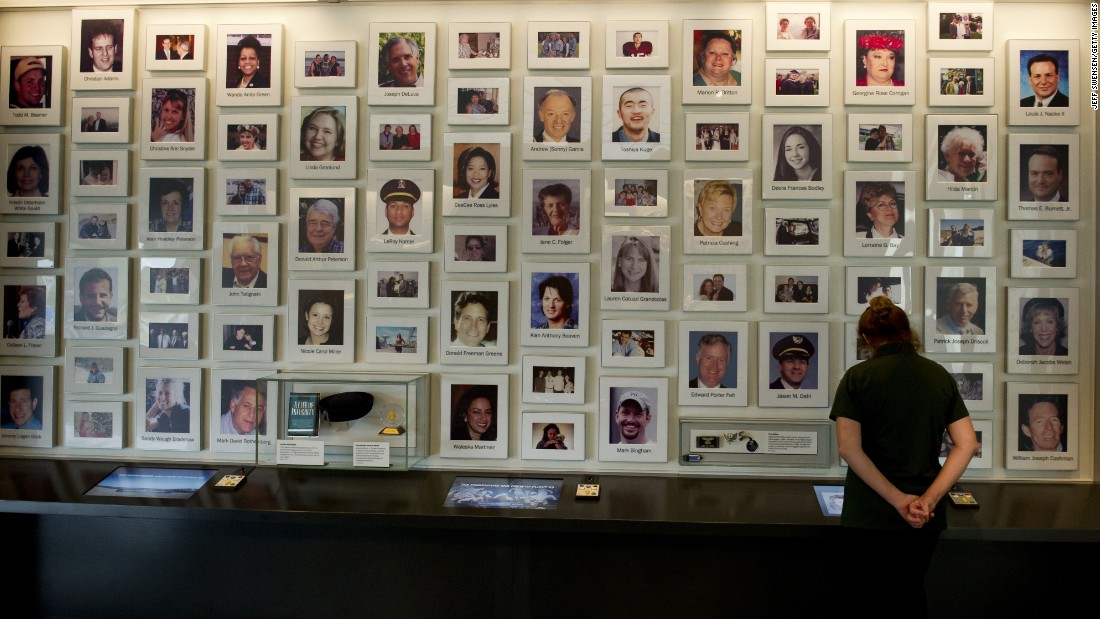 A visitor views a display at the Flight 93 National Memorial visitor center on September 10.