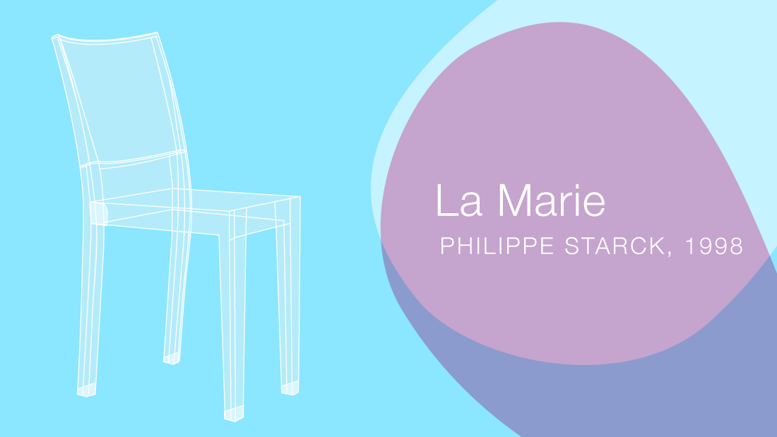 La Marie by Philippe Starck for Kartell was one of the first polycarbonate chairs that afforded a strong chair. Polycarbonate wants to mold into straight lines, not curves, for better structure -- making this form ideal. The chair became famous because of the fun shades of transparent polycarbonate. Also the small scale of the chair made it successful for tight conference rooms and restaurants.<br /><strong><br />Material: polycarbonate | Production: injection molding</strong>