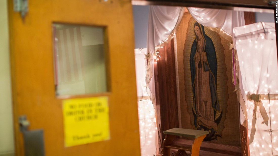 A tapestry depicting the Virgin of Guadalupe, revered by many Mexicans, remains inside the sanctuary at Our Lady of Fatima. Msgr. Edward Deliman says he's found a place where it could go inside Saint Charles Borromeo, but he's waiting for parishioners to decide when it should move.