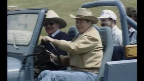 President Ronald Reagan with Mikhail Gorbachev
