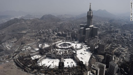 (FILES) - A file picture taken on October 5, 2014 shows an aerial view of the Clock Tower and the Grand Mosque in Saudi Arabia's holy city of Mecca. At least 60 people were killed and dozens injured when a crane crashed into the Grand Mosque of Mecca on September 11, 2015, the civil defence said on Twitter. AFP PHOTO / MOHAMMED AL-SHAIKHMOHAMMED AL-SHAIKH/AFP/Getty Images