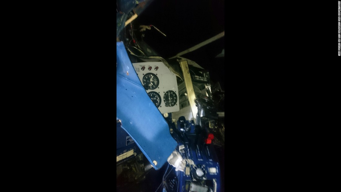Authorities are investigating the cause of the crash. This photo shows the inside of the cockpit.