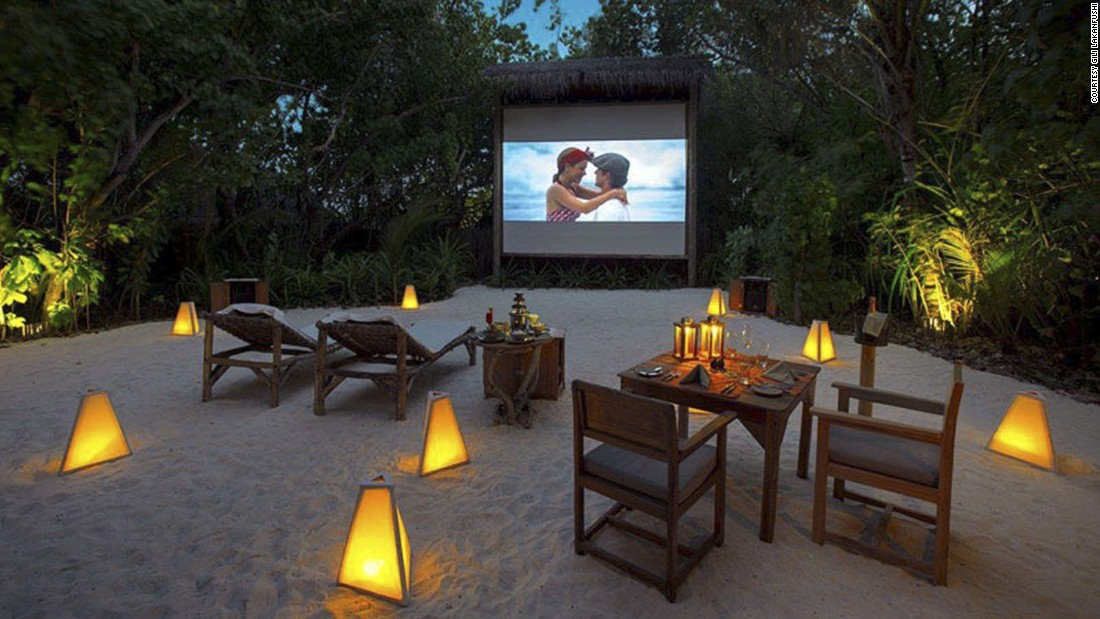 "Guests can watch the ""stars"" under the stars at <a href=""http://www.venuereport.com/roundups/22-incredible-outdoor-cinemas-worldwide/entry/8/"" target=""_blank"">Gili Lankanfushi's</a> ""jungle"" cinema in the sand. For a little more privacy, staff will move the cinema to guests' overwater bungalows for a private viewing."