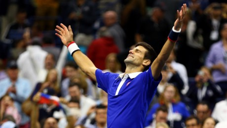 Djokovic of Serbia celebrates after defeating Roger Federer of Switzerland during their Men's Singles Final match on Day Fourteen of the 2015 US Open at the USTA Billie Jean King National Tennis Center on September 13, 2015 in the Flushing neighborhood of the Queens borough of New York City.