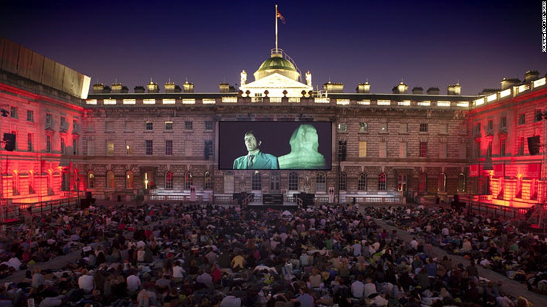 "For 14 nights every summer, London's <a href=""http://www.venuereport.com/roundups/22-incredible-outdoor-cinemas-worldwide/entry/15/"" target=""_blank"">Somerset House</a> offers the ultimate cinematic experience. When this London cultural icon isn't screening films it's got 55 dancing fountains in the courtyard and an ice rink in the winter."