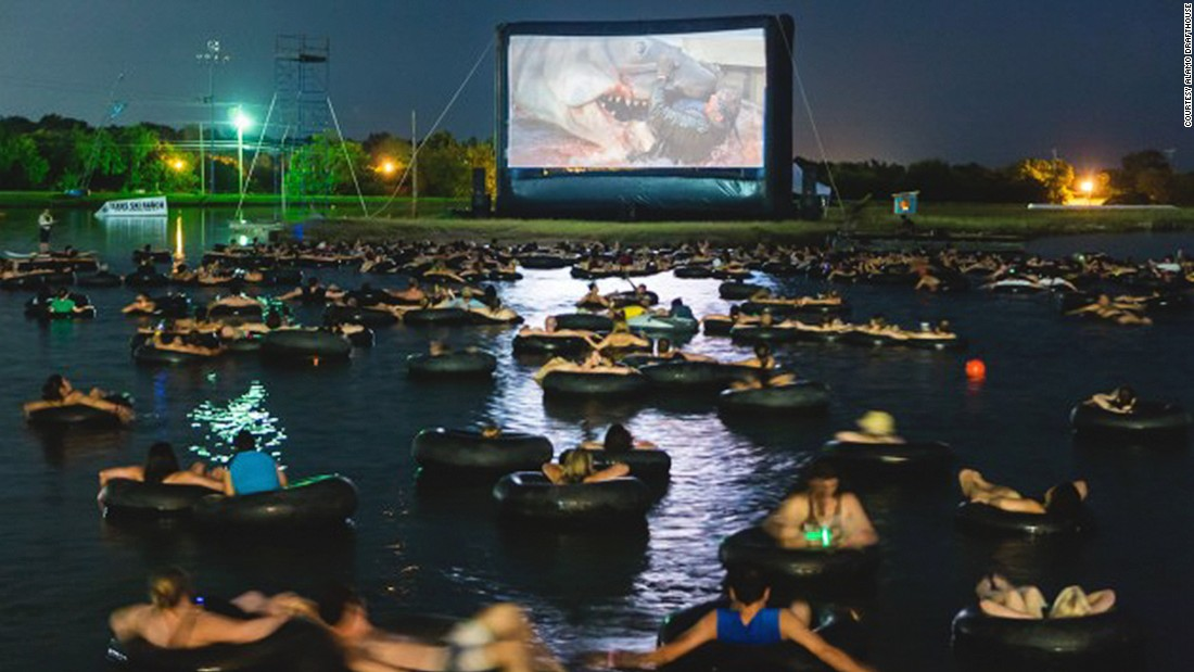 "The Alamo Drafthouse's ""Rolling Roadshow"" series takes movies everywhere from backyards to racetracks to underground caverns. Earlier this year, it held a screening of ""Jaws"" at a man-made lake at the Texas Ski Ranch. For the latest Alamo Rolling Roadshow screenings, check out their <a href=""https://drafthouse.com/series/venue-rental-rolling-roadshows/austin"" target=""_blank"">website</a>."