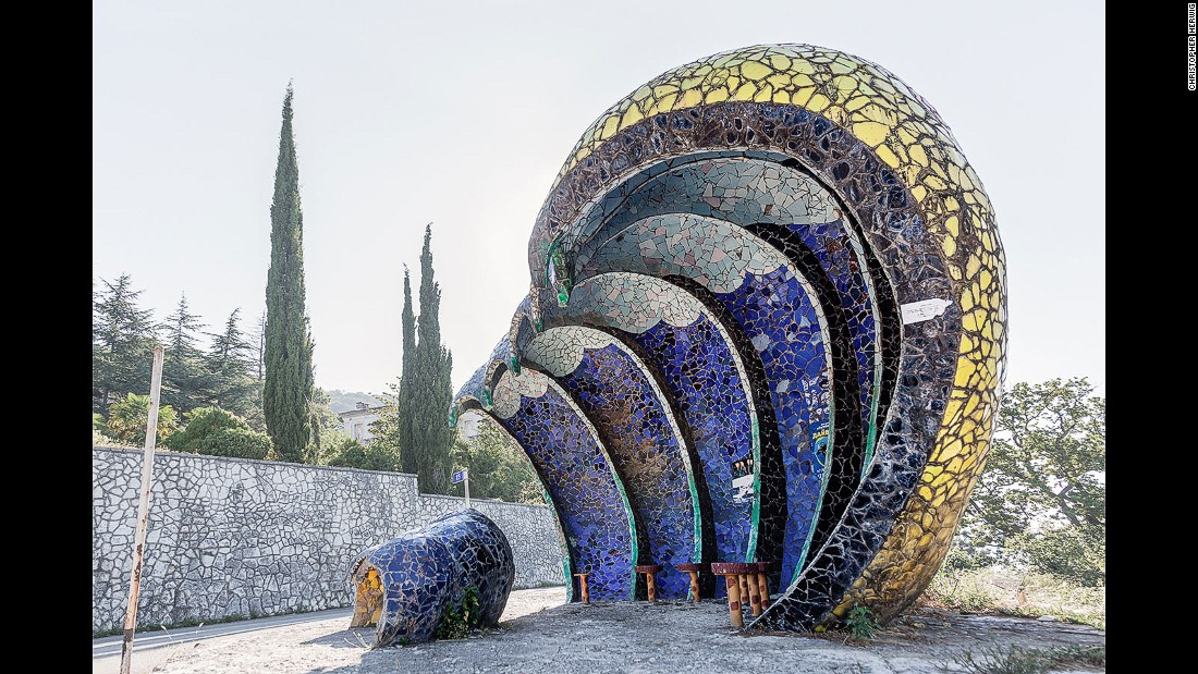 Canadian photographer Christopher Herwig has spent nearly 15 years documenting the extraordinary bus shelters of the old Soviet Union. This, in the disputed region of Abkhazia, is one of a number of wild creations by Zurab Tsereteli, an artist who went on to become president  of the Russian Academy of Arts.