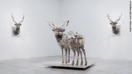 """PixCell-Deer#28""  ""PixCell-Double Deer#6""  ""PixCell-Deer#29""  2012   installation view, ""Kohei Nawa | TRANS"", ARARIO GALLERY SEOUL cheongdam, Korea, 2012 courtesy of ARARIO GALLERY and SCAI THE BATHHOUSE photo : Nobutada OMOTE|SANDWICH"