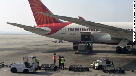 An Air India jet at the Indira Gandhi International Airport in New Delhi.