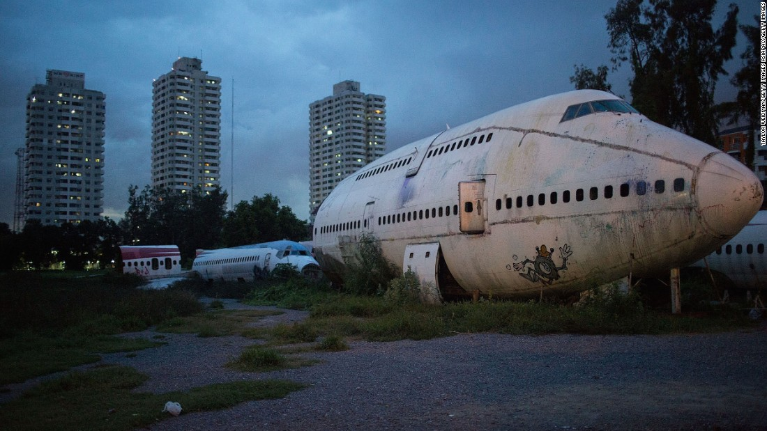 This private lot in eastern Bangkok's Ramkhamhaeng neighborhood is filled with pieces of decommissioned commercial jets, including a Boeing 747 fuselage. Photojournalist Taylor Weidman, who's lived in Thailand for two years, captured the following images during a recent visit to the airplane graveyard.