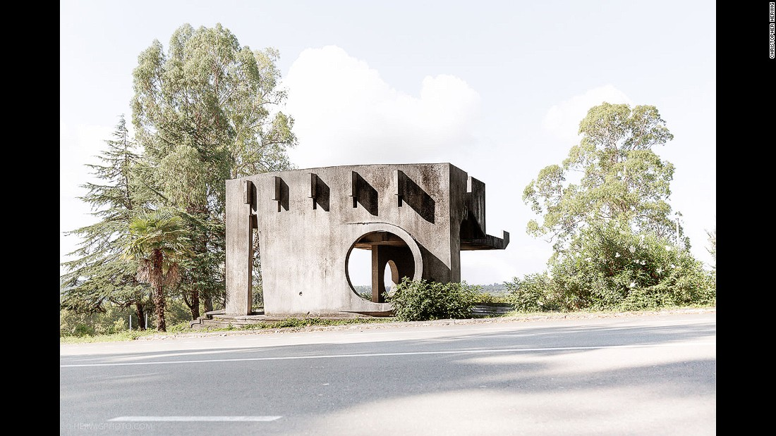 Herwig says his favorite shelters are the designs which tend towards the more bizarre.  Many of the most striking designs he found are in the disputed region of Abkhazia.