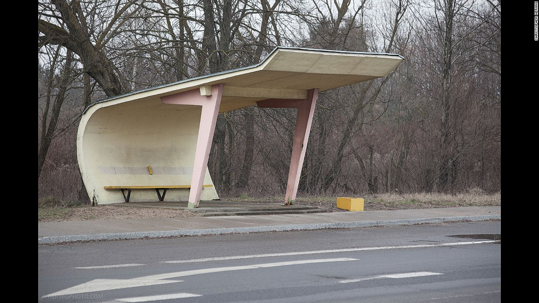 """I was getting off my bike to photograph things I normally wouldn't photograph -- things like clothes lines, power lines, mail boxes and bus stops,"" Herwig says. ""And then as I got into the former Soviet Union, I saw these bus stops were actually worthy of me taking photographs."""