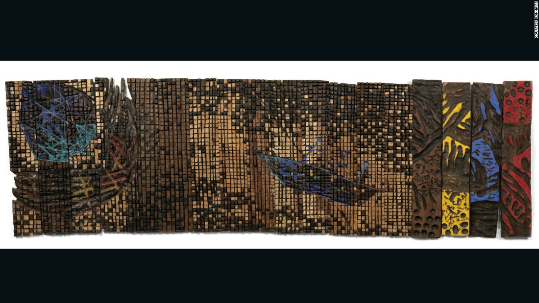 "Another El Anatsui piece, ""The Pilgrims,"" comes as an ensemble of 18 elements went for £32,500."